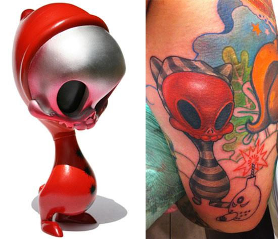 Tattoos inspired by art: Skelve by Brandt Peters. Tattoo by Hannah Aitchison (Chicago). Flesh canvas by Ron.