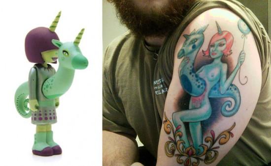 Tattoos inspired by art: Stella by Tara McPherson. Tattoo by Anthony Filo @ Guru Tattoo (San Diego). Flesh canvas by Jon.
