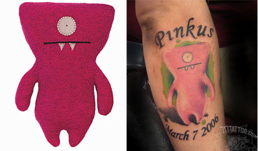 Tattoos inspired by art: Wedge by Uglydolls. Flesh canvas by Mange.