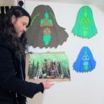 Bigfoot with Bigfoot Gets a Haircut Print by Ryan Roberts