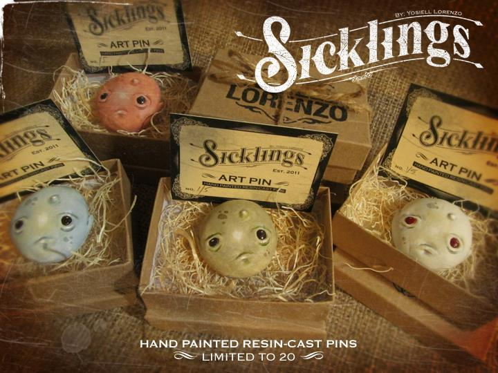 Sicklings resin art pins by Yosiell Lorenzo