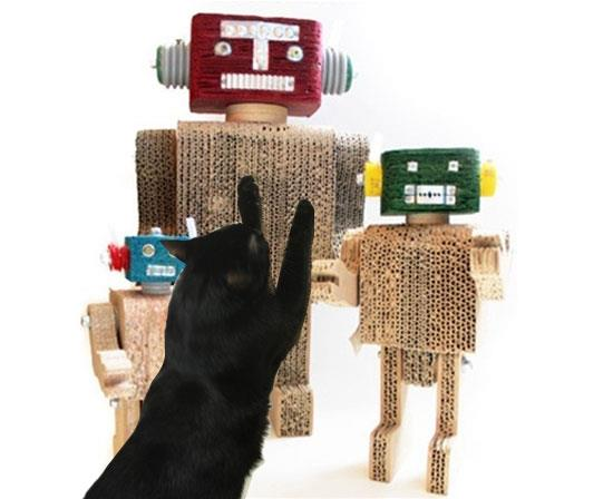 Collectible cardboard robots or cat scratchers?