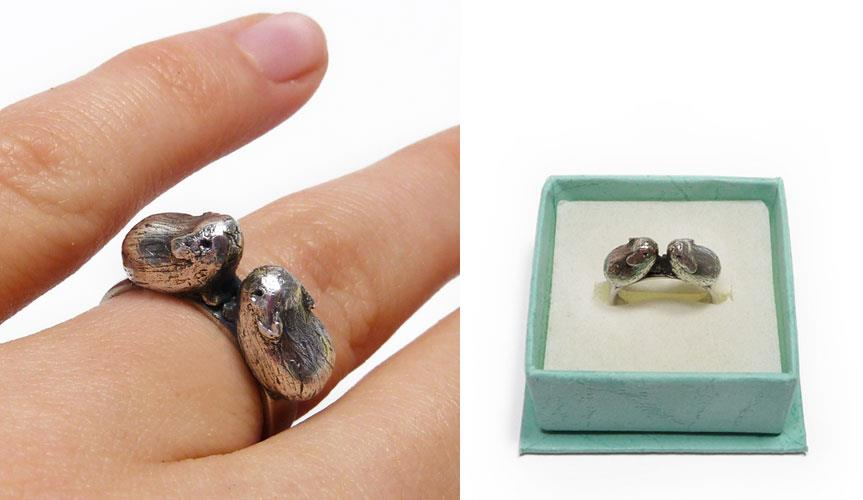 Kissing Guinea Pig Rings by Holly Stanway