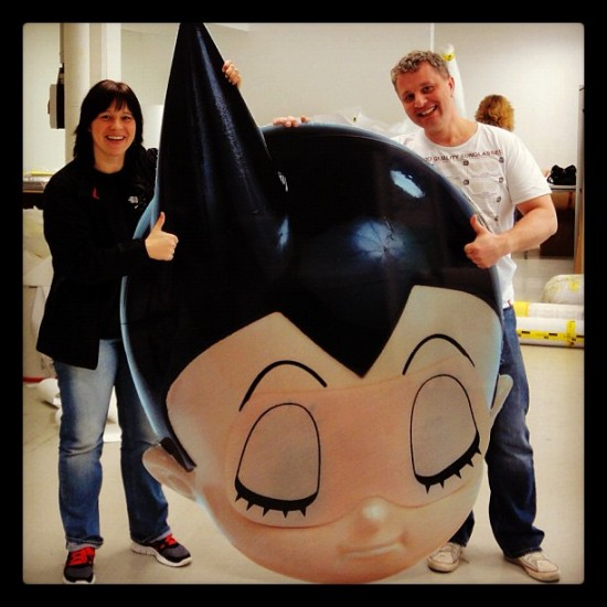 Astroboy head from @toykio's collection on his way to the Collector's Room in Berlin!