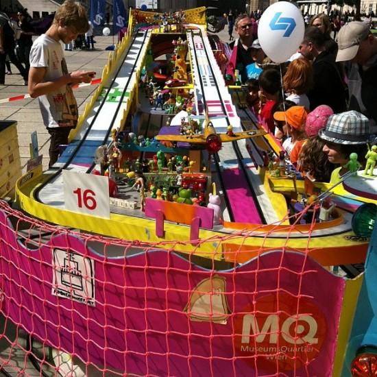 Wild designer racetrack at Museum Quartier in Vienna. Has Kozik & Dalek toys! See closeups @theodoru.