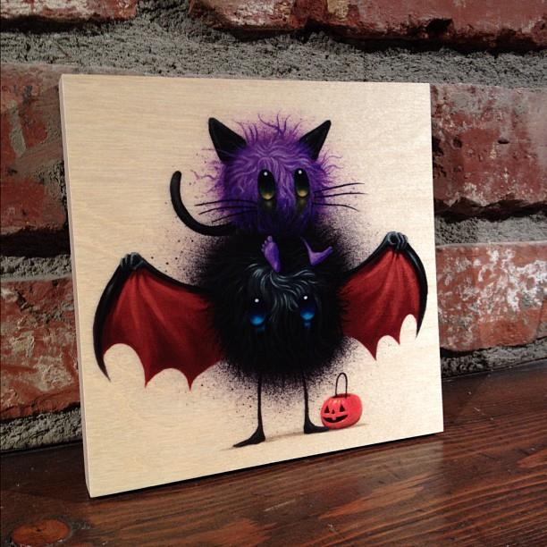 Jeff Soto's Candy Eater print on wood