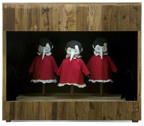 "Marcel Dzama ""3 Pinnochios"" (2007)"
